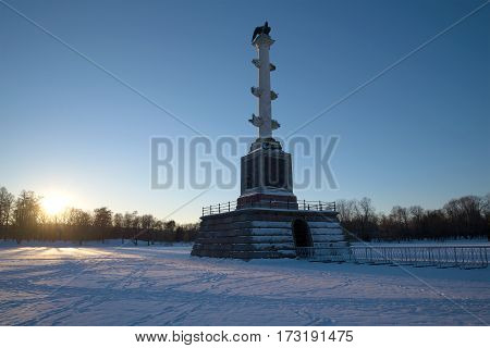 SAINT PETERSBURG, RUSSIA - FEBRUARY 06, 2017: The Chesme column at sunset on a February evening. Tsarskoye Selo