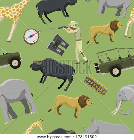 Africa hunting seamless pattern aiming rifle africa shotgun with compass, rifle, binoculars and jeep car and explorer pursuit sport target icons vector illustration. Activity aim adventure tourism.
