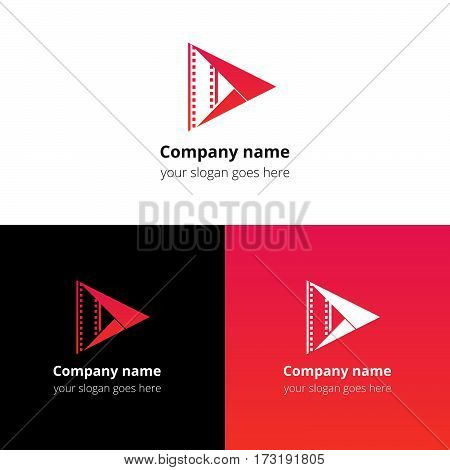 Play music sound button and video movie film strips flat logo icon vector template. Abstract symbol and button with red-pink gradient for music, cinema, television, industrial service or company.