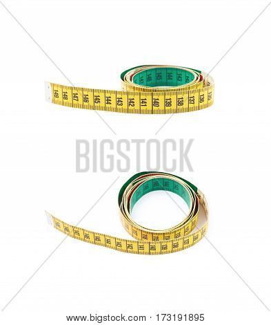 Dieting tape measure isolated over the white background, set of two different foreshortenings