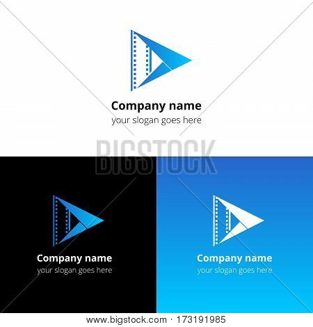 Play music sound button and video movie film strips flat logo icon vector template. Abstract symbol and button with light-blue gradient for music, cinema, television, industrial service or company.