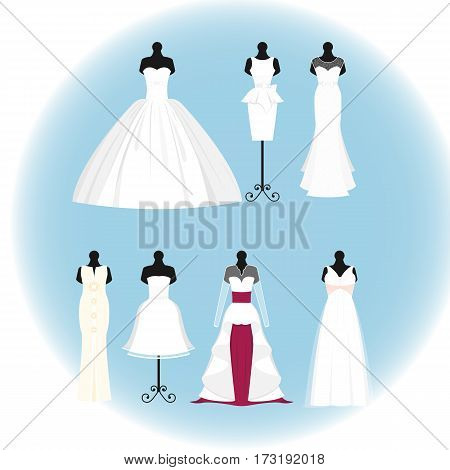 Wedding dress elegant style celebration vector illustration. Fashion bride design made in modern accessories silhouette. Holiday vector bridal shower composition.