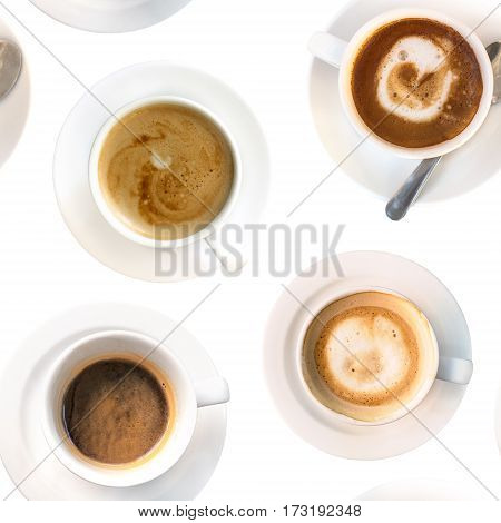 A seamless pattern of cups of coffee, black and with milk, shot from above on a white background