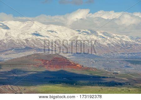 snow on Mount Hermon, mountain cluster in the Anti-Lebanon mountain range, Golan Heights, Israel