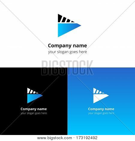 Play music sound button and video movie film strips flat logo icon vector template. Abstract symbol and button with light blue gradient for music, cinema, television, industrial service or company.