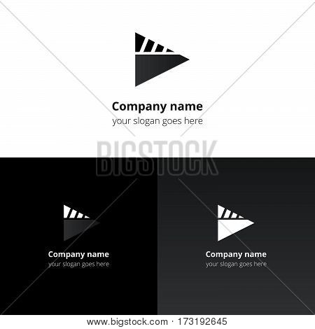 Play music sound button and video movie film strips flat logo icon vector template. Abstract symbol and button with black-white gradient for music, cinema, television, industrial service or company.