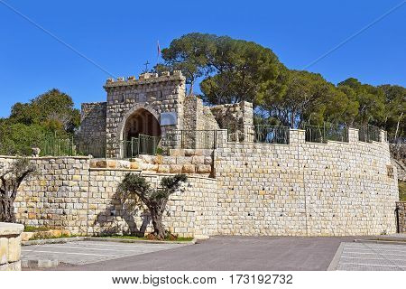 Gates of winds on the road leading to the Church of the Transfiguration, Mount Tabor, Lower Galilee, Israel