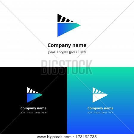 Play music sound button and video movie film strips flat logo icon vector template. Abstract symbol and button with blue-green gradient for music, cinema, television, industrial service or company.