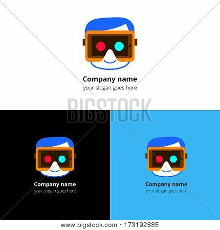 Logo, icon of virtual reality. Human face with virtual reality device. Sign, emblem vector template. Abstract symbol and button for virtual reality, video games, cyber, gaming company or service.