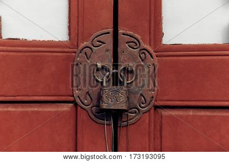 Chinese Door Knocker in city of China.