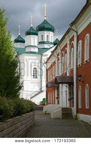 View of domes of a cathedral of the Nativity of the Theotokos in the cloudy afternoon. Kostroma. Golden Ring of Russia