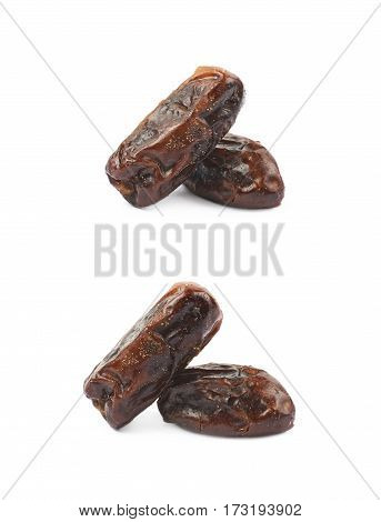 Pile of dried date fruits isolated over the white background, set of two different foreshortenings