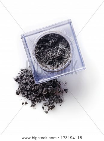 Jar Of Gray Powder Eyeshadow For Make Up As Sample Of Cosmetic Product