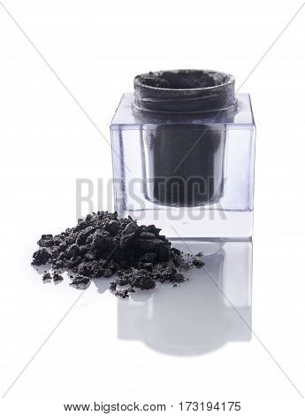 Jar Of Gray Powder Eyeshadow For Makeup As Sample Of Cosmetic Product