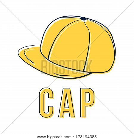 Icon yellow cap. Vector isolated image of the headdress. The concept of street art. It can be used as prints, posters, printed materials, videos, mobile apps, web sites and print projects.