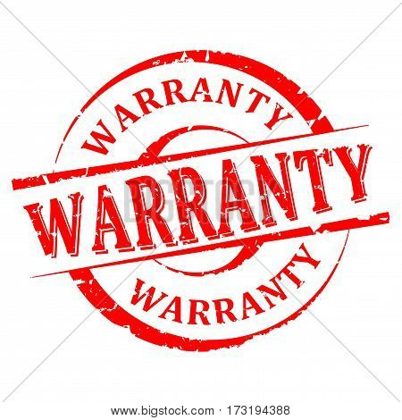 Scratched round red stamp with the word - warranty - vector