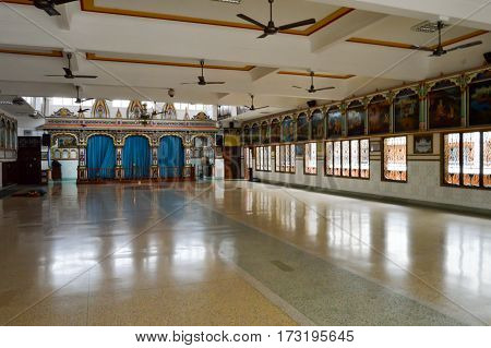 Prayer hall in the Hindu temple of the city of Mombasa in Kenya