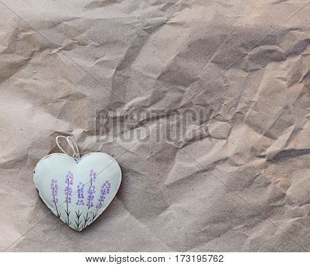 hearts with lavender picture on the background of old paper. Soft focus background mode.
