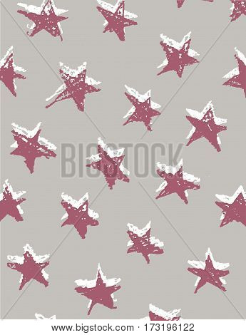 Seamless pattern with hand drawn stars on paper background. Festive wrap, background. Vector illustration.