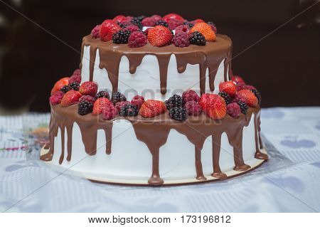 cake with chocolate and sweet summer berries dessert