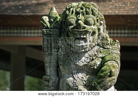 Statues and carvings depicting demons, gods and Balinese mythological deities can be found throughout the Pura Dalem Agung Padangtegal temple in the Monkey Forest Sanctuary in Ubud, Bali.