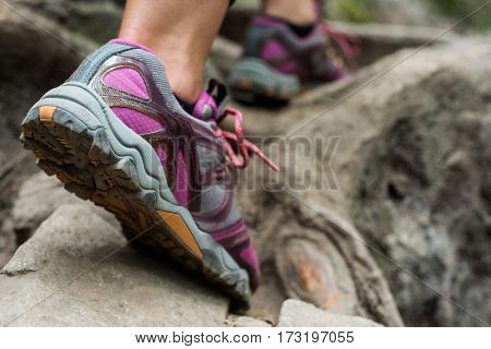 Foot of female hiker hiking in countryside forest