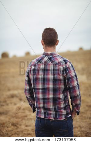 Rear view of farmer standing in the field on a sunny day