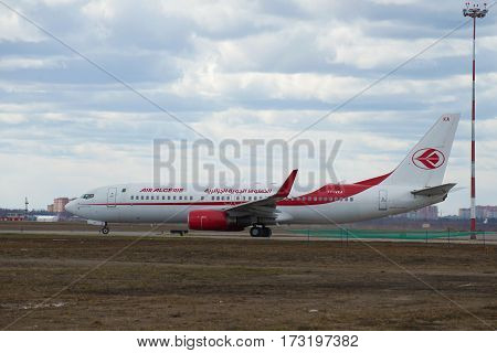 MOSCOW, RUSSIA - APRIL 15, 2015: Boeing 737-800 (7T-VKA) of the company Air Algerie close up on the taxiway of the airport Sheremetyevo