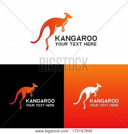 Kangaroo logo, icon vector design template. Logotype kangaroo design vector with gradient color. Animal symbol on black and white background for logo. Icon kangaroo or zoo.