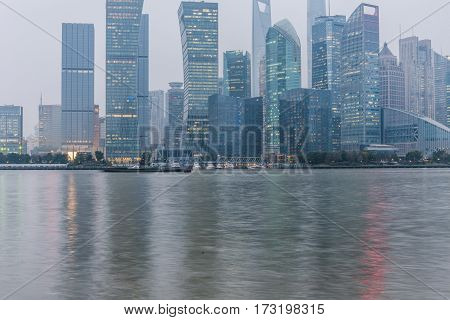 view of the bund skyline of shanghai in China.