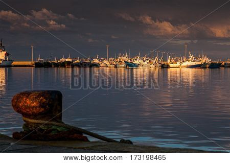 Italy Sicily Mazara del Vallo (Trapani Province) the port with its boats and pier berthing