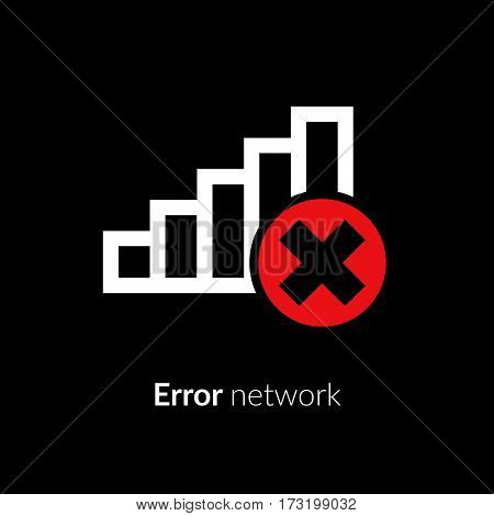 Error, wrong, incorrect, lost, disconnect, bad antenna, not available, no signal, stop symbol with network, connect, internet Wi-Fi, WLAN, white icon on black background for computer,mobile interface.