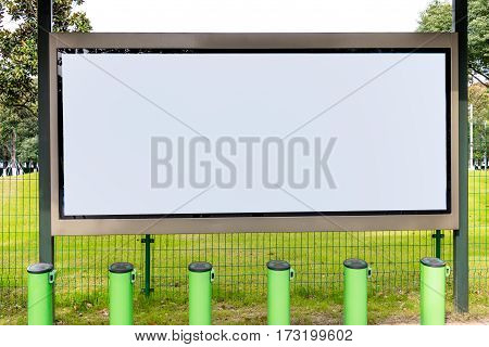 Blank billboard at bus stop in city of China.