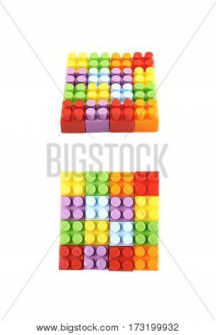 Square shape made of plastic building toy bricks isolated over the white background, set of two different foreshortenings