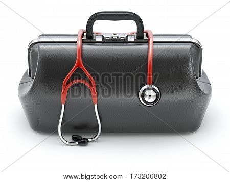 Retro black leather doctor's bag with the stethoscope in front view - 3D illustration