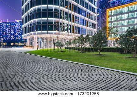town square in financial districtin city of China.