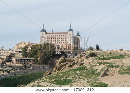 A view from a mountain to a castle of Toledo and old town (UNESCO heritage) Castilla-La Mancha Spain.