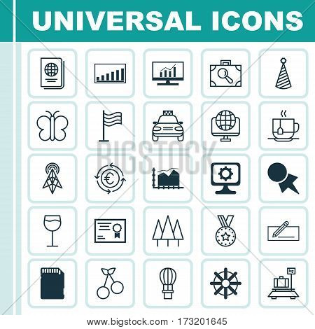 Set Of 25 Universal Editable Icons. Can Be Used For Web, Mobile And App Design. Includes Elements Such As PC, Discount Coupon, Certificate And More.