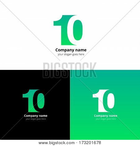 10 logo icon flat and vector design template. Monogram years numbers one and zero. Logotype ten with green gradient color. Creative vision concept logo, elements, sign, symbol for card, brand.