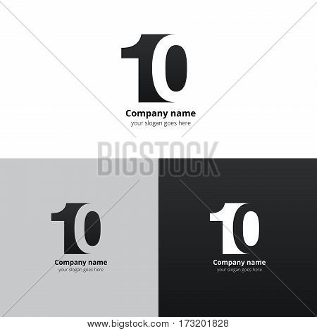 10 logo icon flat and vector design template. Monogram numbers one and zero. Logotype ten with grey gradient color. Creative vision concept logo, elements, sign, symbol for card, brand, banners.