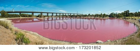 Pink salt lake at west gate park, Melbourne, Australia - Panorama view
