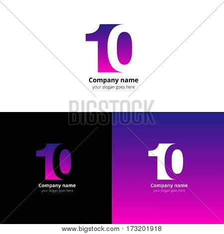 10 logo icon flat and vector design template. Monogram numbers one and zero. Logotype ten with purple-pink gradient color. Creative vision concept logo, elements, sign, symbol for card, brand.
