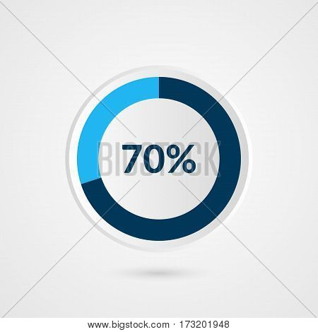 70 percent blue grey and white pie chart. Percentage vector infographics. Circle diagram business illustration