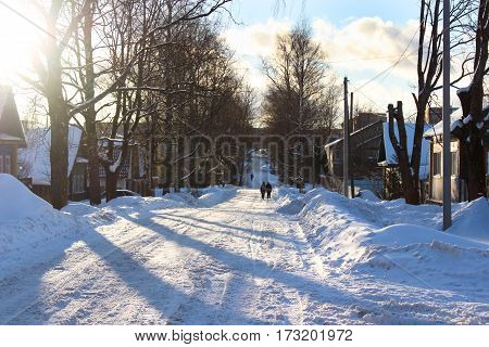 Landscape with snow. Russian village in the winter.