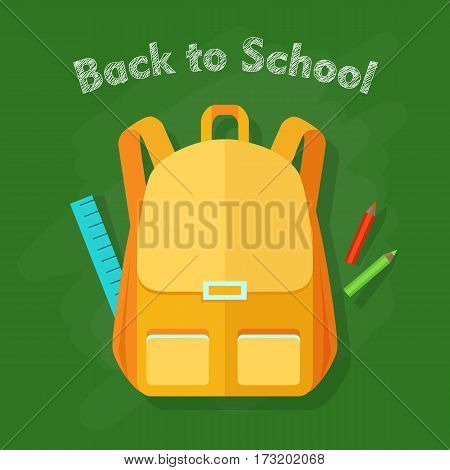 Back to school. Yellow backpack with two front pockets. Orange pieces of cloth. School objects behind. Long blue ruler, green and red pencils. Illustration in cartoon style. Flat design. Vector
