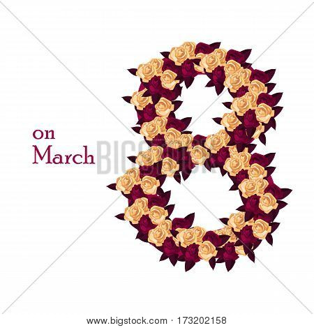 March 8 flowers. Greeting Card for women and mothers day. Vector illustration