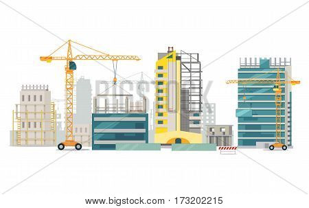 Unfinished buildings set. Industrial cranes. Process of building. Different types of houses. Big cranes holding elements. Modern city architecture. Illustration of construction. Cartoon style. Vector
