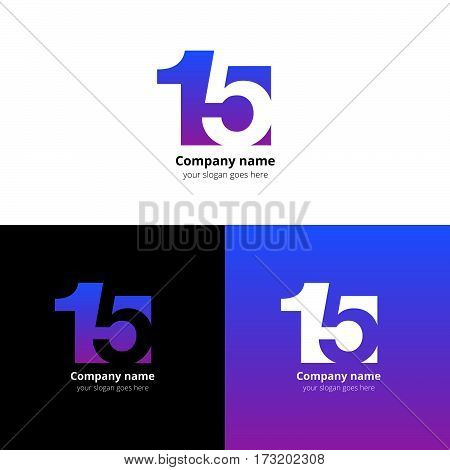 15 logo icon flat and vector design template. Monogram numbers one and five. Logotype fifteen with purple gradient color. Creative vision concept logo, elements, sign, symbol for card, brand, banners.