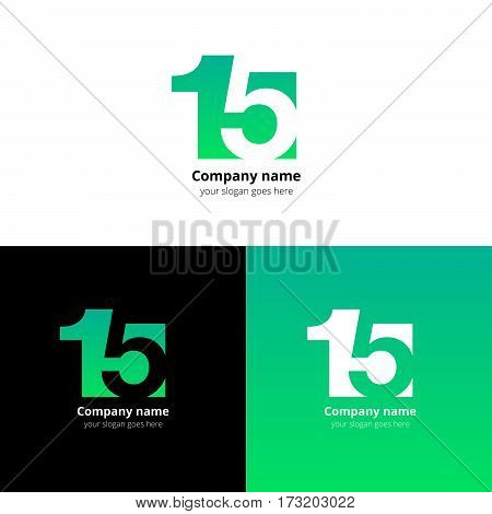 15 logo icon flat and vector design template. Monogram numbers one and five. Logotype fifteen with green gradient color. Creative vision concept logo, elements, sign, symbol for card, brand, banners.