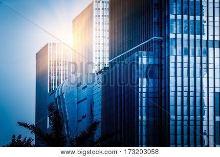 Closeup of modern office buildings,shenzhen,blue tone,China .